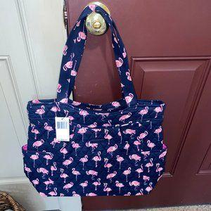 Vera Bradley Pleated Tote Bag NWT Flamingo Fiesta